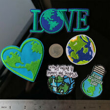Love Heart Earth Light Bulb Sew Iron on Applique Embroidery Patch Jacket Badge
