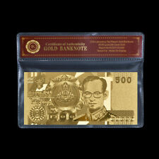 WR Gold Thailand 500 Baht Gold Foil Polymer Thai Banknote Souvenir Gifts For Dad