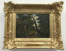 18th/19th century A drover & cattle on a wooded track, oil on board Ref Bon110