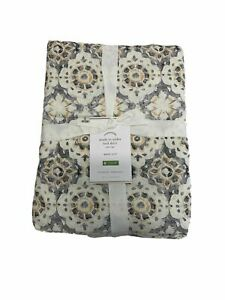 Pottery Barn Queen June Print Bed Skirt Neutral Multi-Color NEW 14 inch drop