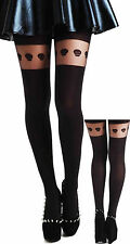 Goth : Collant Tights Original Tête de Mort NOIR Opaque & Tranparent Gothique