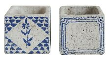 "Creative Co-Op DA7849A 3-1/4"" Blue Cement Tile Planter Set of 2"