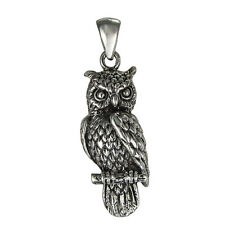 Sterling Silver Owl Pendant - Animal Bird Jewelry - Symbol of Wisdom