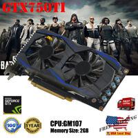 US NVIDIA GeForce GTX750TI 2GB GDDR5 192bit VGA DVI HDMI Graphics Card
