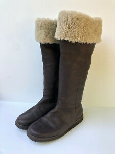 Boden brown textured leather sheepskin shearling cuff long knee high boots 5 38