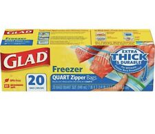 Glad Freezer Bags, Extra Thick&durable 20 Count Quart Size