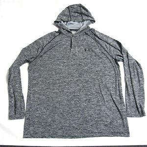 UNDER ARMOUR Heat Gear Mens Tech 1/4 Snap Gray Black Hoodie Shirt 2XL
