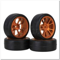4 x Smooth Rubber Tirse & 10 Spoke Gold Alloy Wheel Rim for RC1:10 On-Road Car