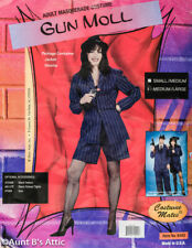 Gun Moll/Lady Gangster Costume 3Pc Blue/Wht Pinstripe Jacket Shorts & Hat M/L