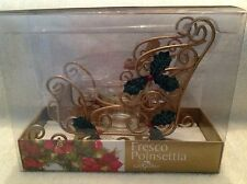 Sleigh Christmas Votive/Tealight Candle Holder Fresco Poinsettia Gift Gallery