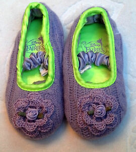 NEW LAVENDER KNIT SLIPPERS SHOES w/ ROSE SIZES 5 6 GIRLS BABY INFANT TODDLER