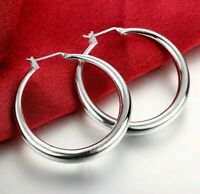 "Silver Plated 1"" Thin Solid Hoop Earrings Sterling Silver Hoops"