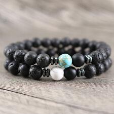 Long Distance Protection Yoga Beaded Bracelet 8mm Lava Rock Howlite Beads 2PCS