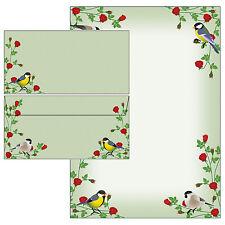 rote Rosen bunte Vögel Set Motivpapier Briefpapier 20 Blatt A4 +10 Kuverts Meise