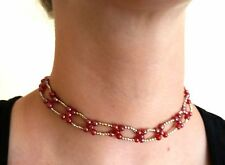 Beaded Choker adjustable Necklace RED SILVER color beads jewelry INDIA New