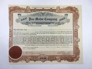 Pan Motor Co., 1921 10 Shares I/U Stock Cert Fine, Left border cut into