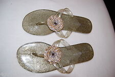 Lindsay Phillips SNAP Switchflops Flip Flops MANDY GOLD Glitter Gel Size 11