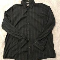 Calvin Klein Mens Size XL Long Sleeve Button Down Black Red Stripe Shirt EUC
