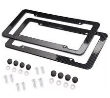 2pc Set Plastic Carbon Fiber License Plate Frame Holder Cover Front & Rear JDM