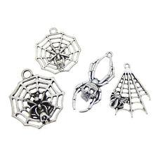 4 pcs Mix Silver Metal Alloy Spider Cobweb Charms Pendants DIY Jewelry Crafts
