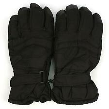 Men's Winter Thinsulate 3M Snow Grip Ski Hook&Loop Wrist Cover Gloves Black 2XL