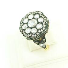 VINTAGE STYLE DIAMOND RING TCW 2.34 black rhodium 18 kt yellow GOLD birth bride