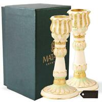 Shabbat Candlestick (2-Piece Set) Hand-Painted, Gold-Plated Pewter by Matashi