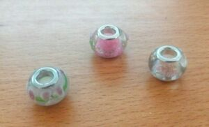 Charms to PANDORA bead - murano & lampwork - bracelet - lot of 3 pink - NEW