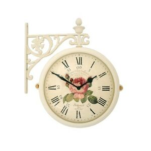 Antique Flower Double Sided Wall Clock Home Decor Station Clock Gift - M195IVF