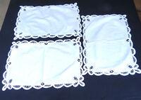 Vintage Battenburg Lace Doily Placemat White Cotton 12x18