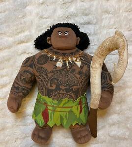 "Disney Store Official Moana Plush MAUI Fishhook Doll Toy Demi God 11"""