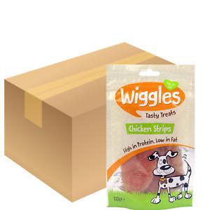 Wiggles Chicken Breast Jerky Fillet Strips Dog Treats Healthy 100g-18 bags Bulk