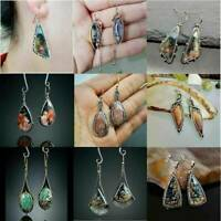 1 Pair Fashion 925 Silver Gemstone Earrings Ear Hook Dangle Drop Woman Jewelry