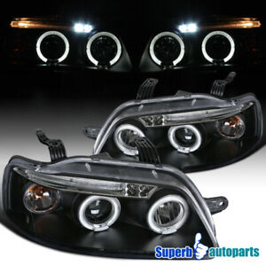 For 2004-2008 Chevy Aveo LED Dual Halo Projector Headlights Lamps Black