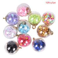 10Pcs/Set Christmas Pentagram Glass Ball Charms Pendant Jewelry DIY Making Craft