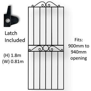 Tall Black Wrought Iron Pedestrian Garden Gate 1800mm (W) X 810mm (H) Swirl Top