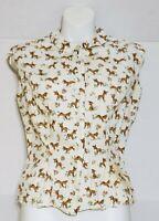 Vintage McMullen Blouse Sleeveless Top Retro Pony & Orange Flower Print Sz 12