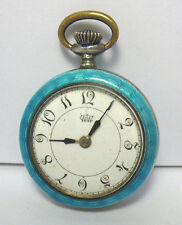"ANTIQUE STERLING SILVER GOLD ENAMEL POCKET WATCH MARKED ""WOW""  21 GRAMS"