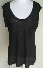 Graham and Spencer Black Linen Sleeveless T Shirt with Pocket - Size P