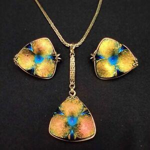 Vintage Hillcraft Castlecraft Czech Carnival Glass Art Deco Earrings & Necklace