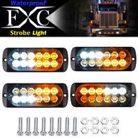 4x 12-LED Car Truck Strobe Emergency Warning Light Deck Dash Grill White/ Amber