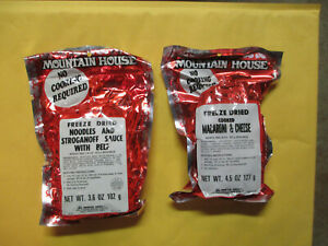 2 CAMPING MREs MOUNTAIN HOUSE FREEZE DRIED MACARONI & CHEESE + NOODLES STROGANOF