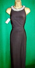 Monsoon Black Jersey Crystal Phoenix Long Evening Cocktail Maxi Prom Dress UK 18