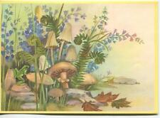 VINTAGE FERNS BLUEBELL FLOWERS GARDEN FROG STRAW WILD WOODS MUSHROOMS ART CARD