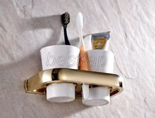 Gold Color Brass Wall Mounted Bathroom Accessories Toothbrush Holder sba846