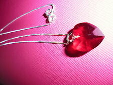 Red Crystal Heart Pendant Necklace Sterling Silver Fine Box Chain
