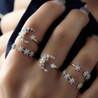 5Pcs/Set Vintage Silver Crystal Star Flower Stackable Sparkly Rings Boho Pop1 MW