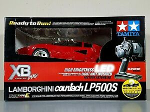 New Open Box 1/10 Tamiya RC Red Lamborghini Countach LED TT-01 E LP500S XB 57780