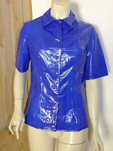PVC-U-Like PVC Shirt Blouse Top Shiny Blue Plastic Roleplay XL Vinyl Poppers