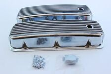 BIG BLOCK CHEV TALL NOSTALGIA STYLE FINNED ALLOY ROCKER COVERS HOT ROD CUSTOM